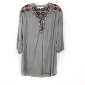 NWT Anthro solitaire gray embroidered tunic dress